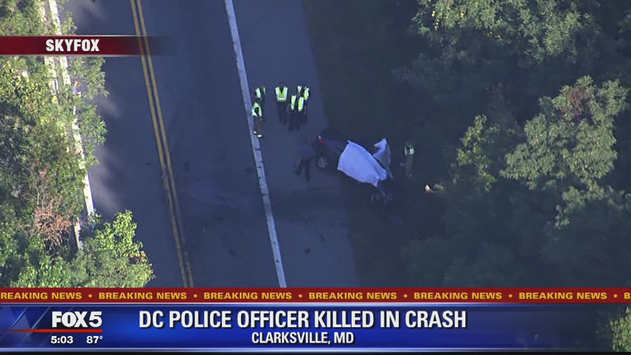 DC police officer killed in car crash with tractor trailer