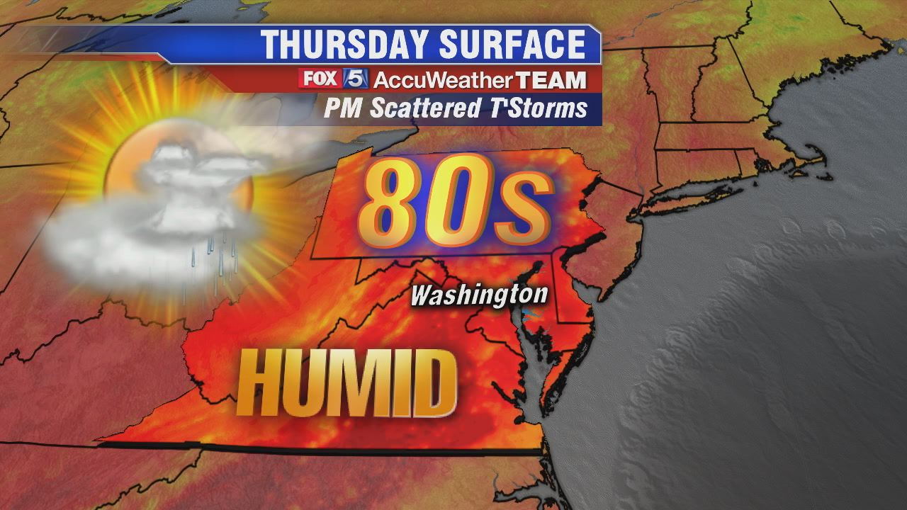 Warm, humid and mix of sun and clouds Thursday; scattered thunderstorms likely into the afternoon and evening