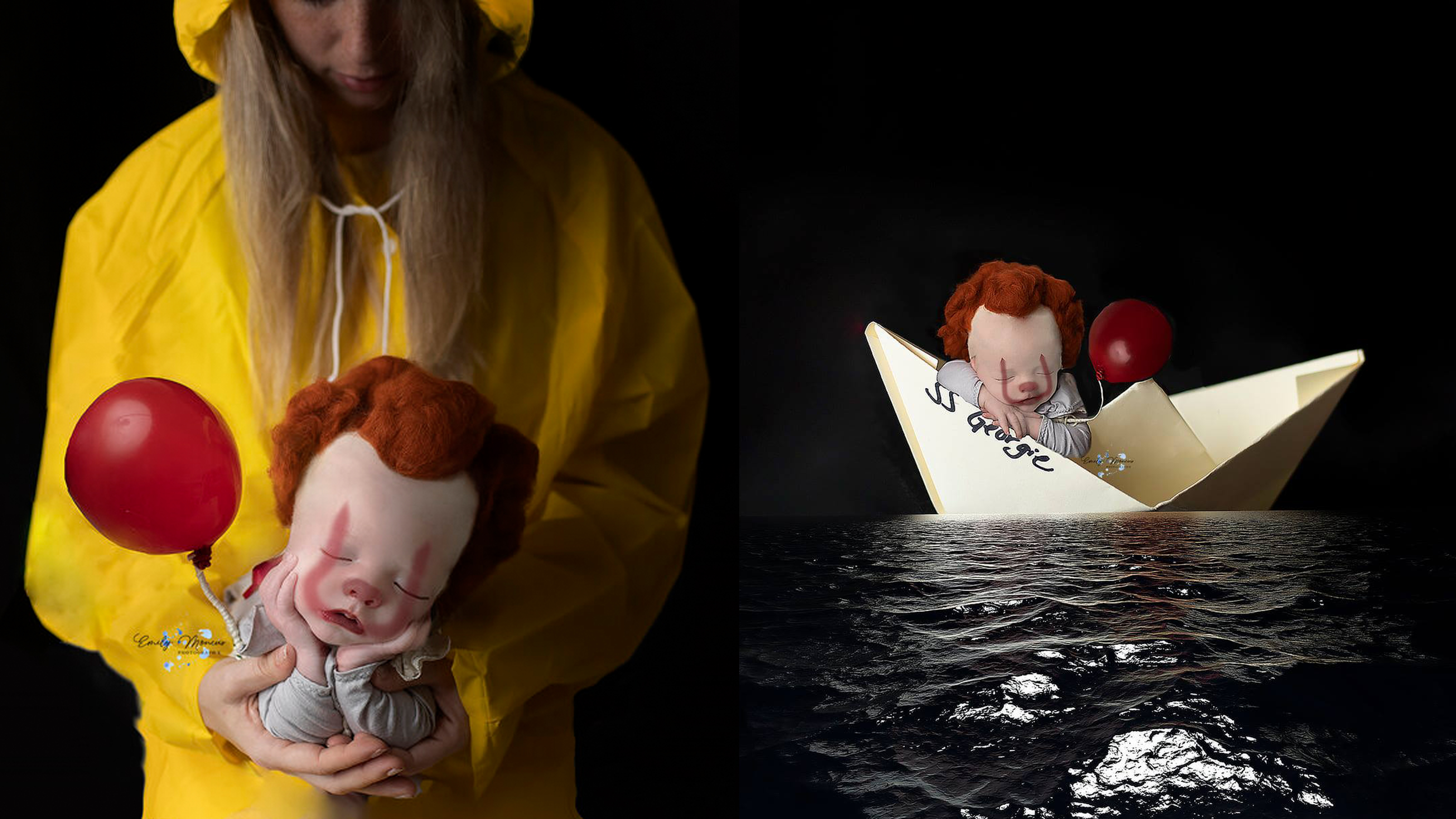 Newborn Transformed Into Pennywise For It Themed Photo
